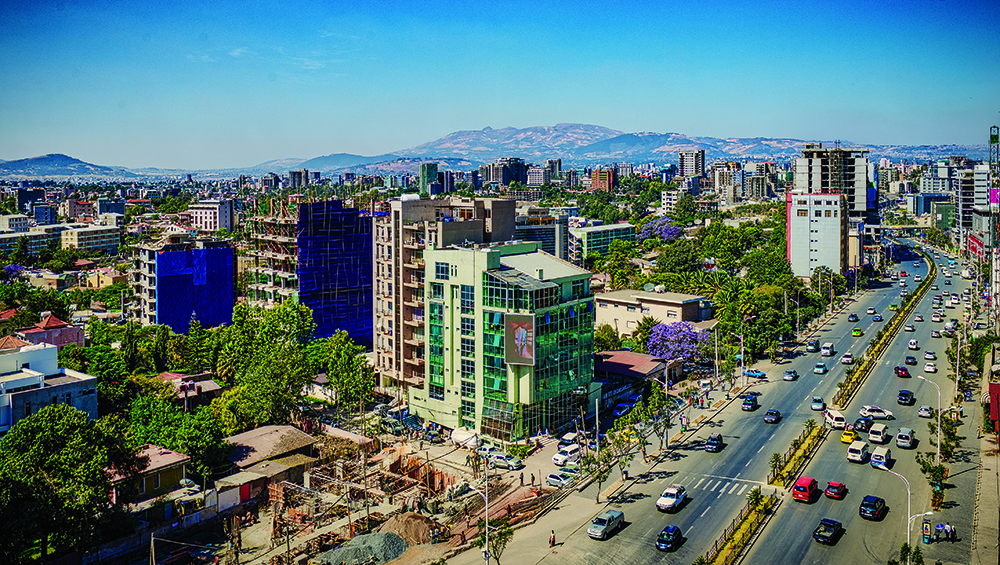 Panoramic view of the airport road area in Addis Ababa where most of the foreign embassies and consulates are located, Ethiopia