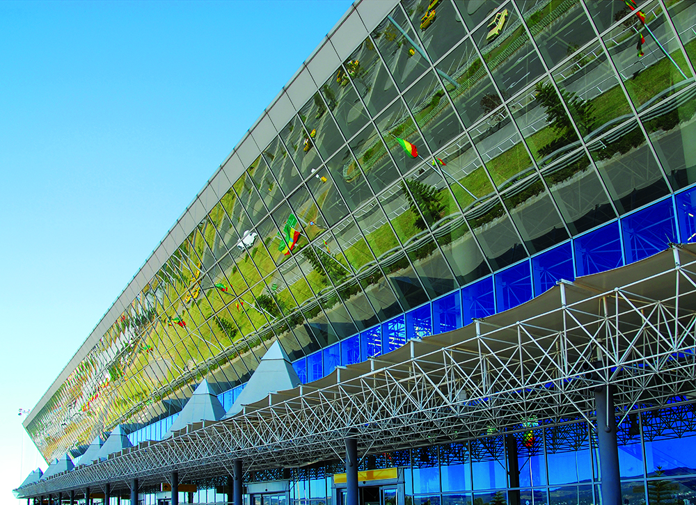 Addis Ababa, Ethiopia: glass facade of Bole International Airport - International Terminal - photo by M.Torres