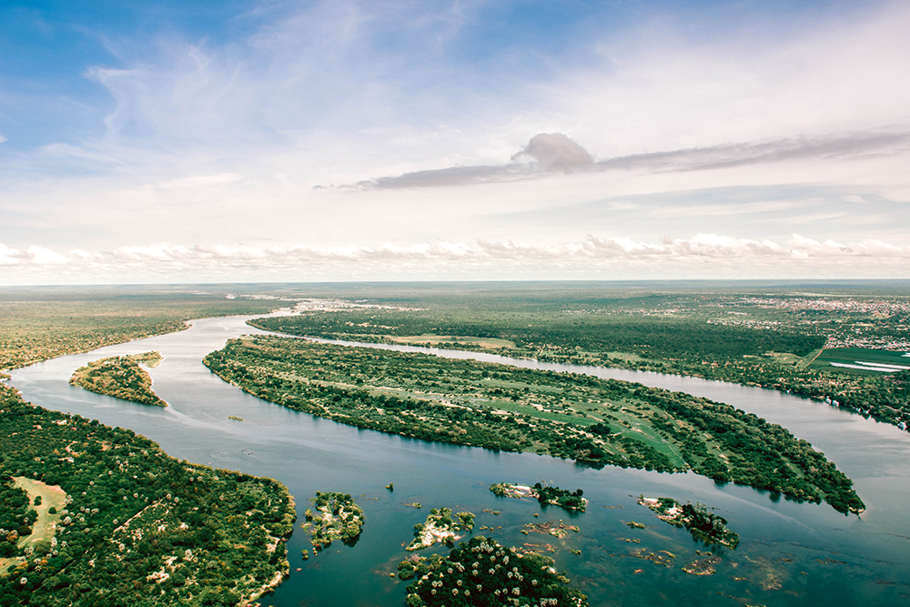 The sprawling waters of the Zambezi River with Zimbabwe to the left and Zambia to the right
