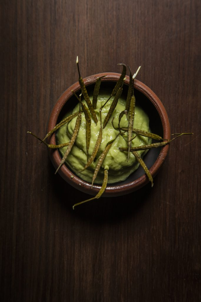 Mil's uchutu and Seeds dish contains Andean turnip pods, cactus and avocado