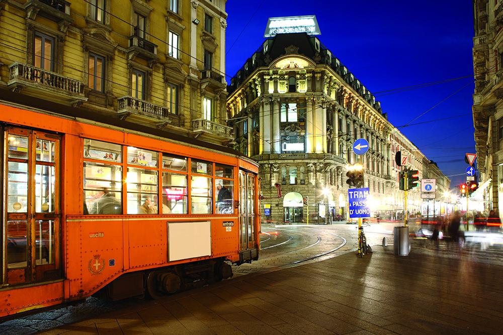 Tram in Via Dante, Milan, Lombardy, Italy
