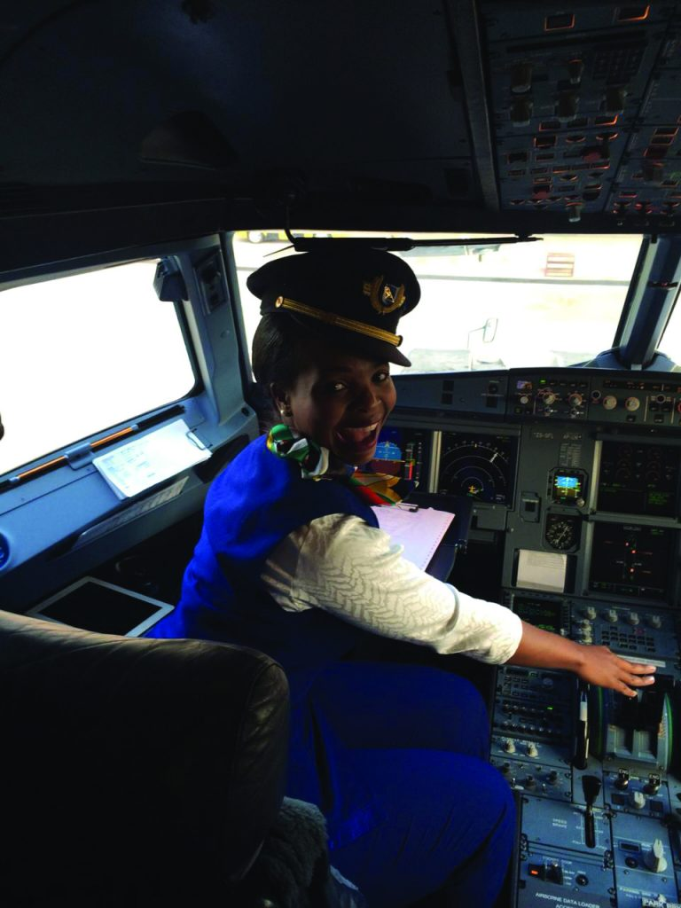 Adele Khumalo in the cockpit