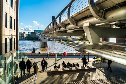 The Millennium footbridge across the River Thames.