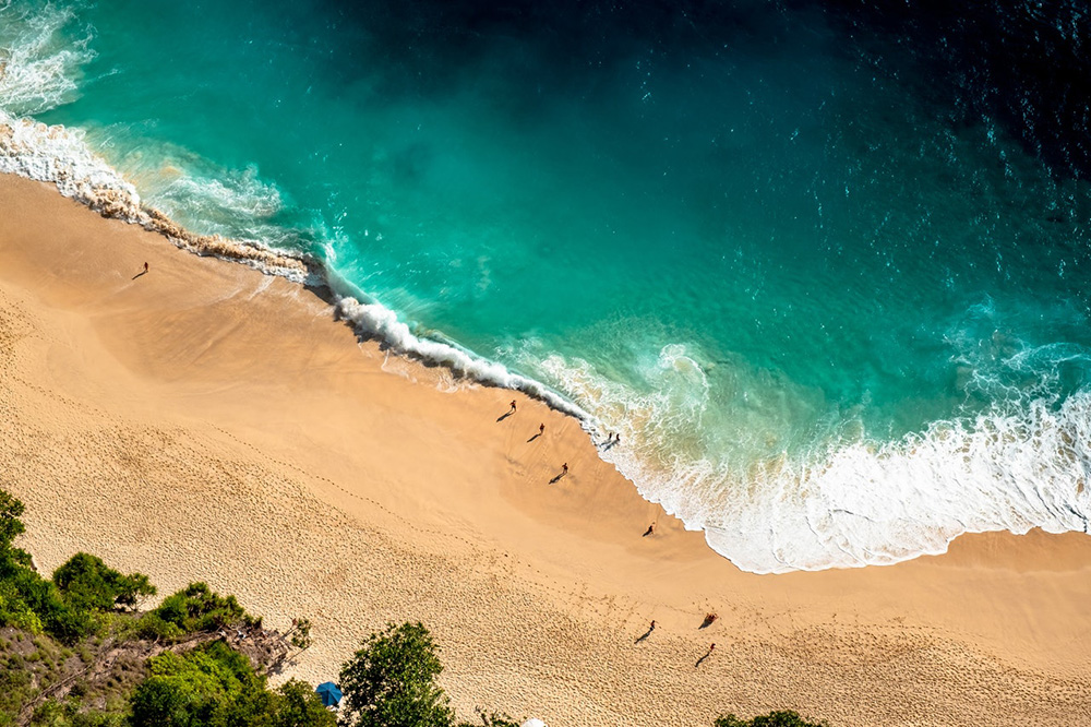 Aerial shot of a beach in Bali