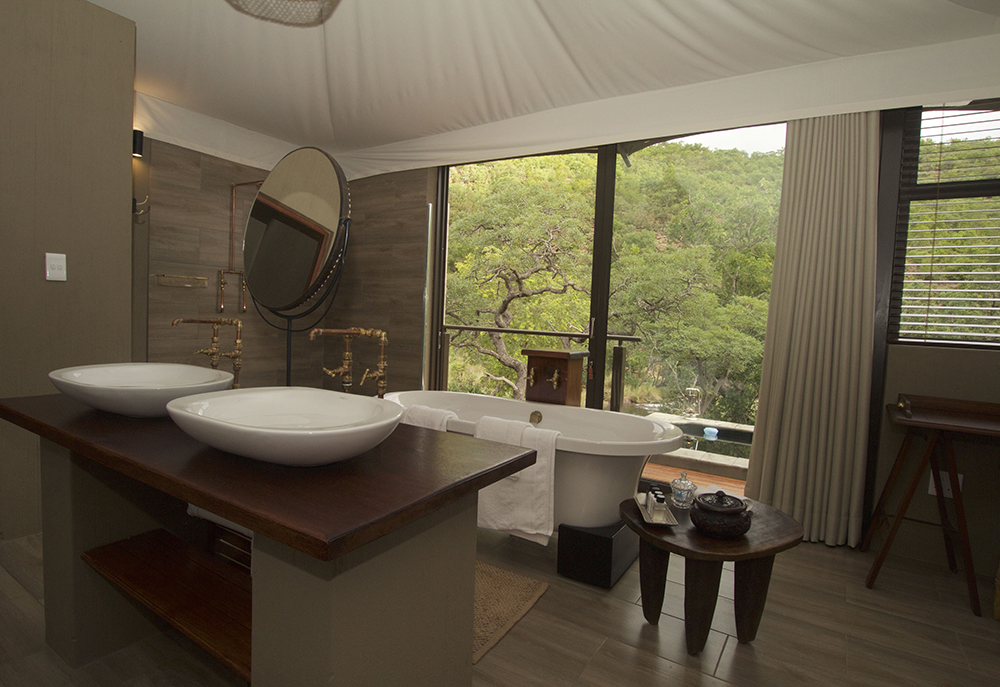 Inside one of the luxurious tented-safari suites at Inzalo