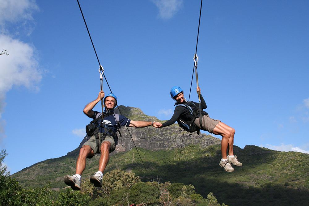 Zip lining in Mauritius