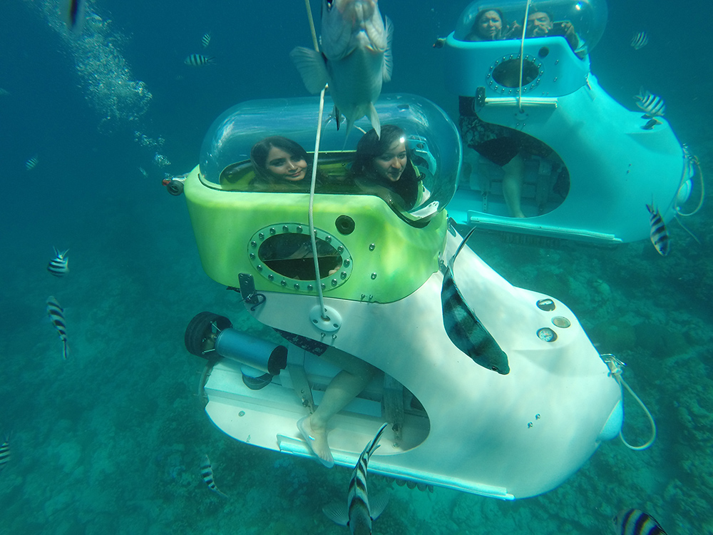 Under water scooter ride in Mauritius