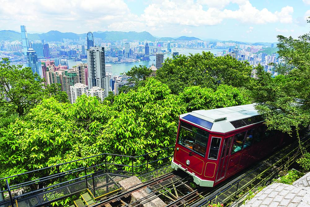 Tourist peak tram in Hong Kong
