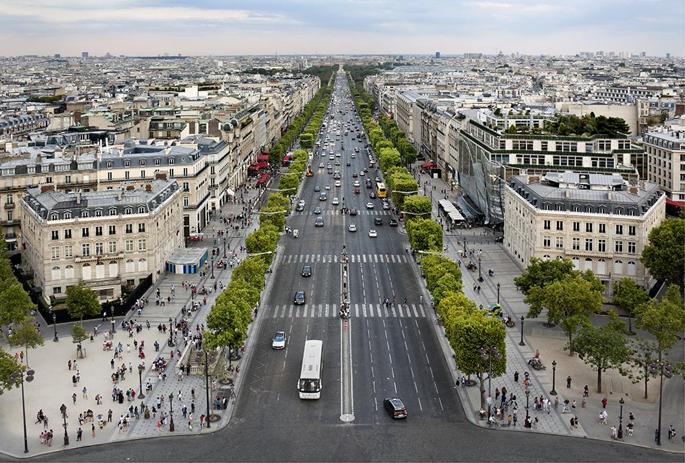 Champs-Élysées aerial view, Paris France