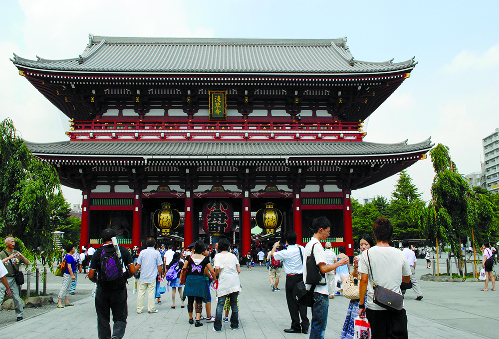 Visitors flock to the Sensoji Temple, the oldest temple in Tokyo and one of the most significant Buddhist temples located in Asakusa quarter.