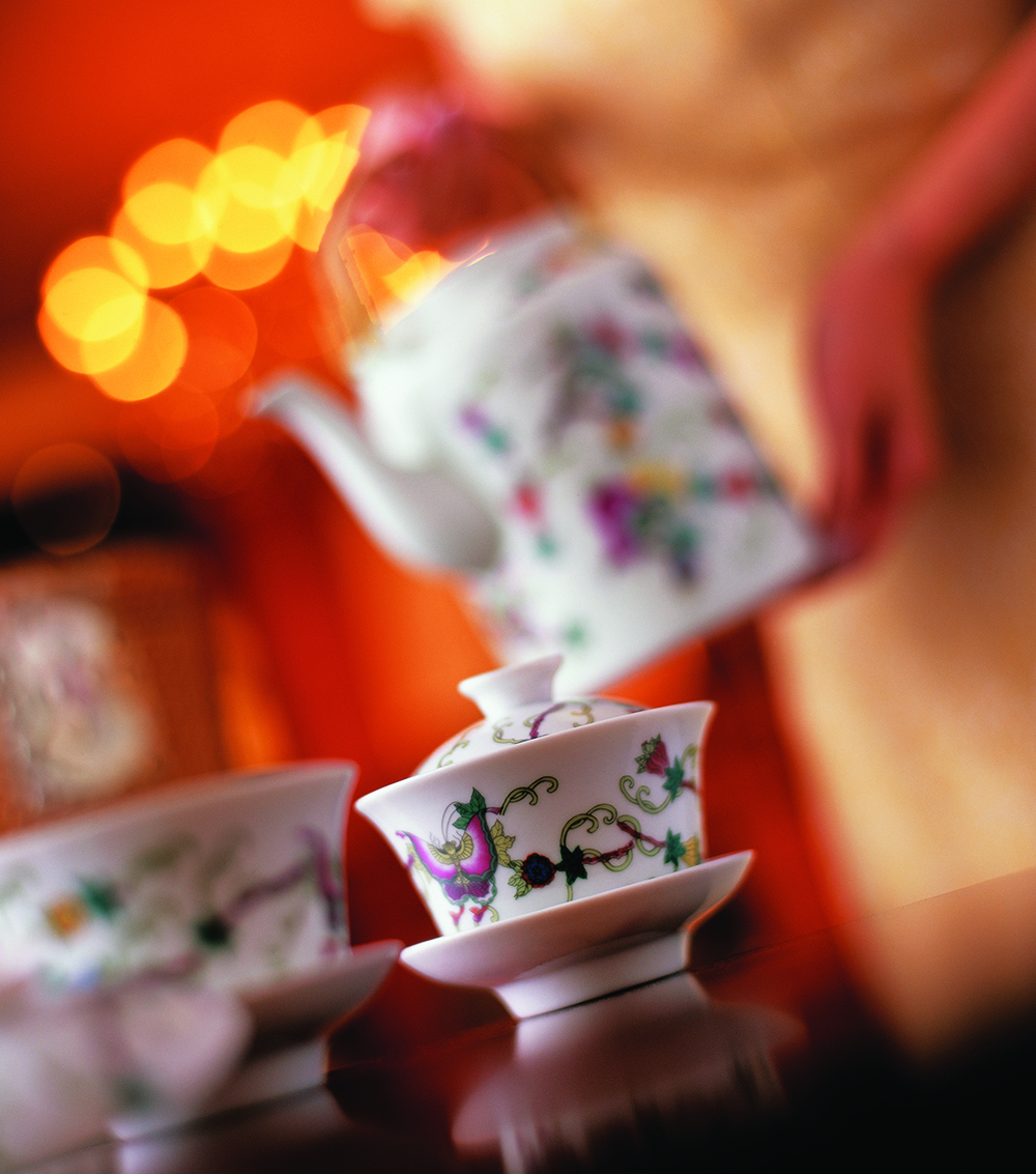 Welcome tea at the Shangri-La Hotel