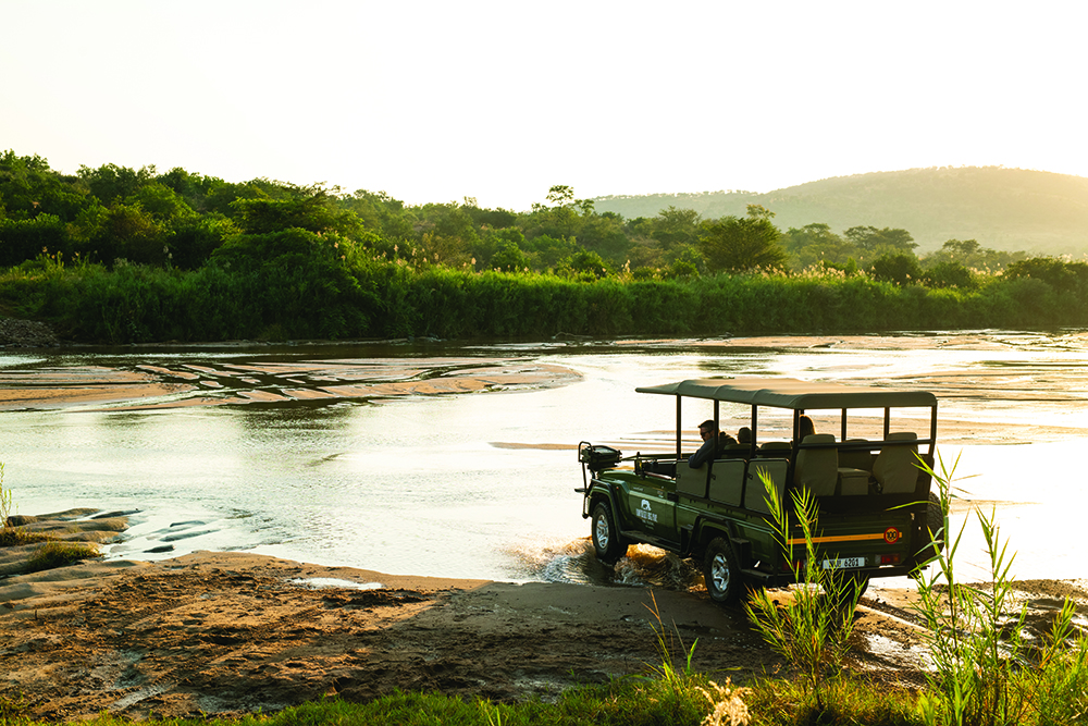 Crossing the white uMfolozi during the dry season