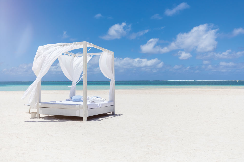 Bed-on-a-beach-in-Mauritius