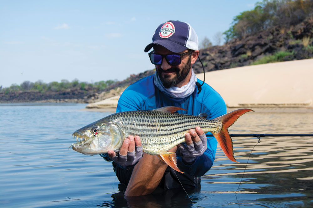 The author with a small tigerfish