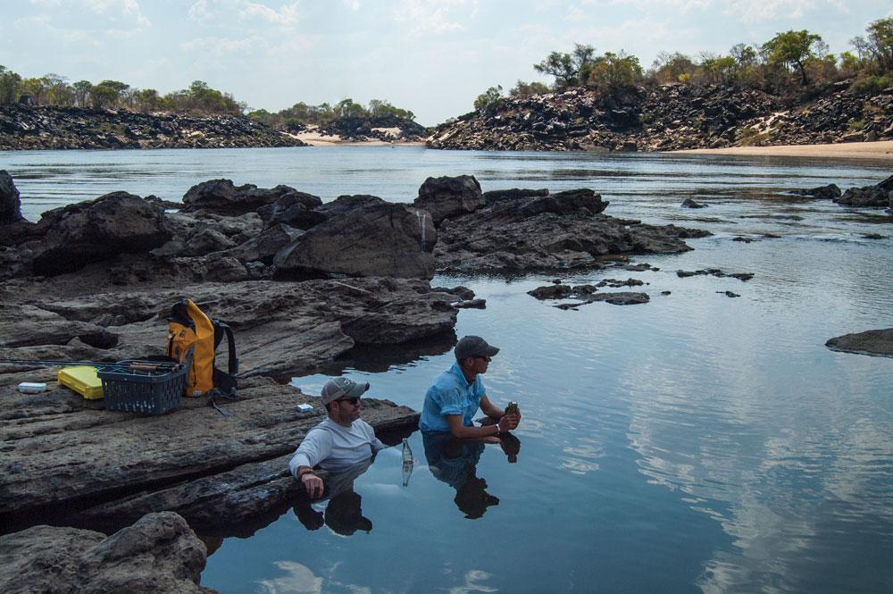 Wildman Fishing Co guide Brett Manton and Ewan Naude cool off. Photo: Jazz Kuschke